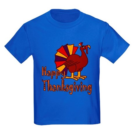 Cute Turkey Happy Thanksgiving Kids Dark T-Shirt