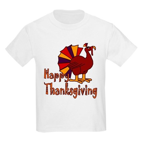 Cute Turkey Happy Thanksgiving Kids Light T-Shirt