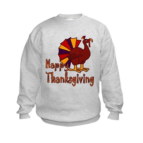 Cute Turkey Happy Thanksgiving Kids Sweatshirt