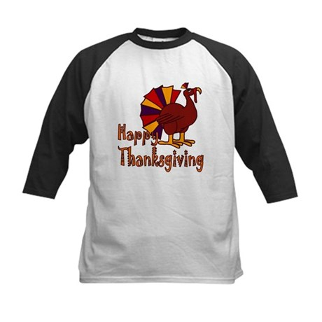 Cute Turkey Happy Thanksgiving Kids Baseball Jerse