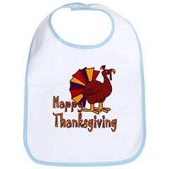 Cute Turkey Happy Thanksgiving Bib