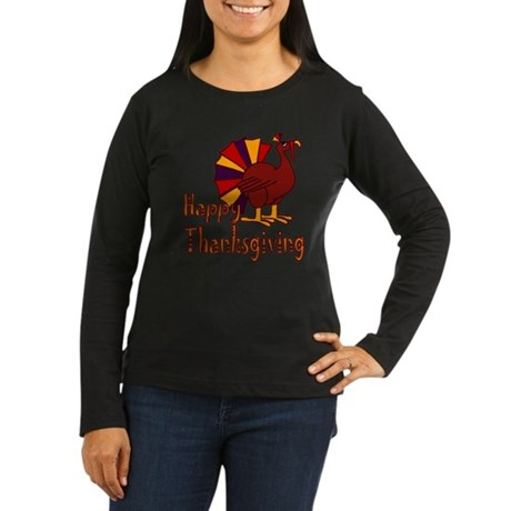 Cute Turkey Happy Thanksgiving Women's Long Sleeve