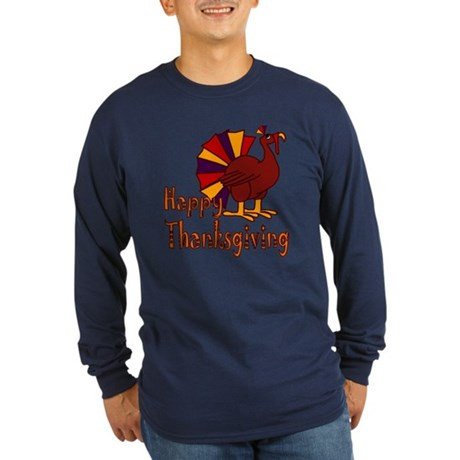 Cute Turkey Happy Thanksgiving Long Sleeve Dark T-