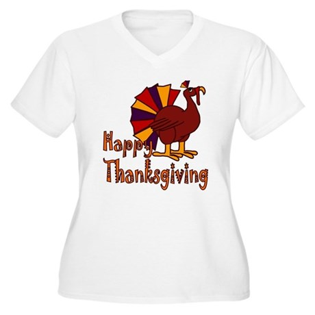 Cute Turkey Happy Thanksgiving Women's Plus Size V