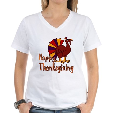 Cute Turkey Happy Thanksgiving Women's V-Neck T-Sh