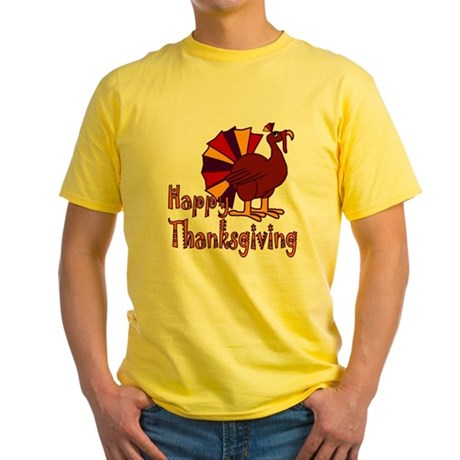 Cute Turkey Happy Thanksgiving Yellow T-Shirt
