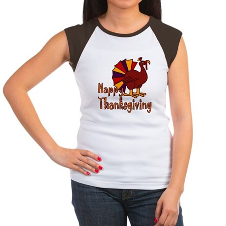 Cute Turkey Happy Thanksgiving Women's Cap Sleeve
