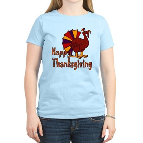 Cute Turkey Happy Thanksgiving Women's Light T-Shi
