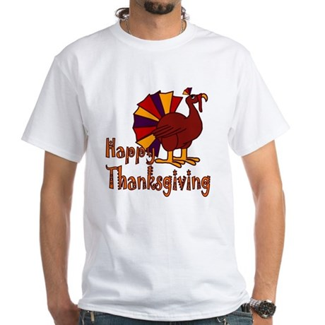Cute Turkey Happy Thanksgiving White T-Shirt