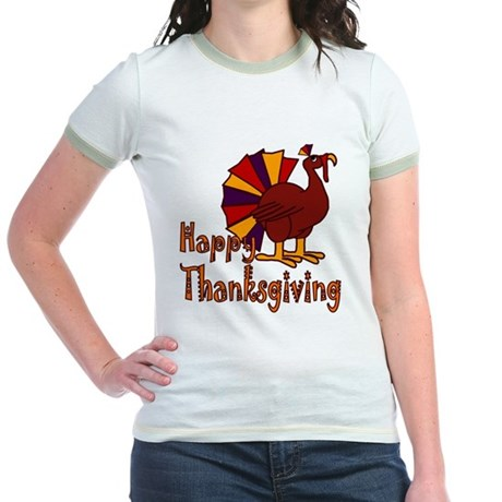 Cute Turkey Happy Thanksgiving Jr. Ringer T-Shirt