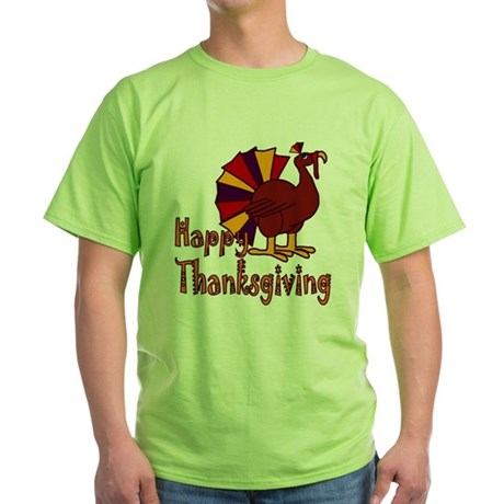 Cute Turkey Happy Thanksgiving Green T-Shirt