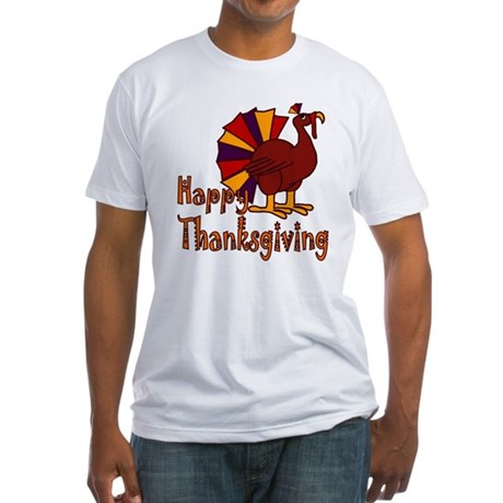 Cute Turkey Happy Thanksgiving Fitted T-Shirt
