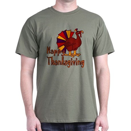 Cute Turkey Happy Thanksgiving Dark T-Shirt