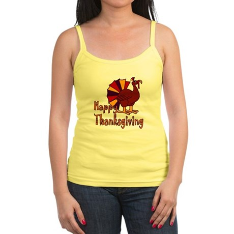 Cute Turkey Happy Thanksgiving Jr. Spaghetti Tank