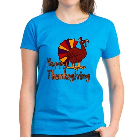 Cute Turkey Happy Thanksgiving Women's Dark T-Shir