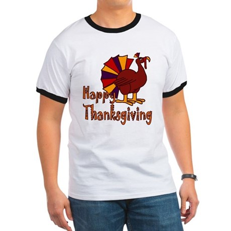 Cute Turkey Happy Thanksgiving Ringer T