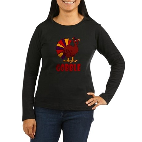 Thanksgiving Turkey Gobble Women's Long Sleeve Dar