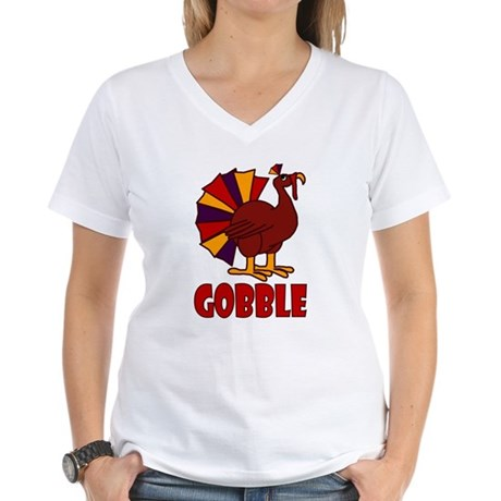 Thanksgiving Turkey Gobble Women's V-Neck T-Shirt