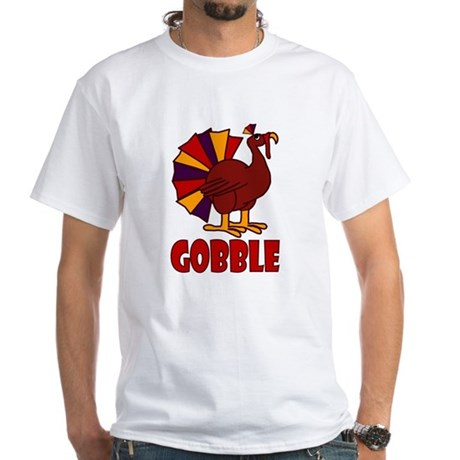 Thanksgiving Turkey Gobble White T-Shirt
