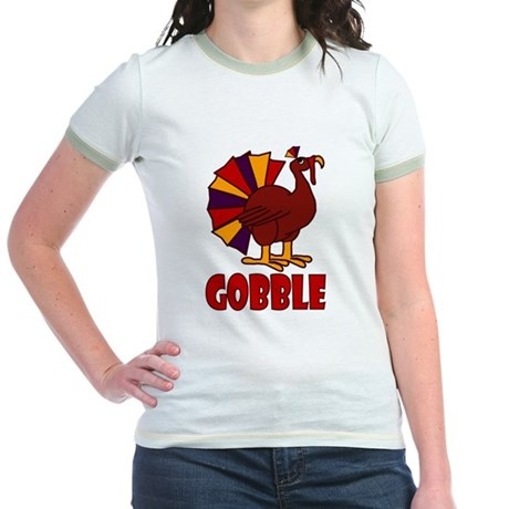 Thanksgiving Turkey Gobble Jr. Ringer T-Shirt