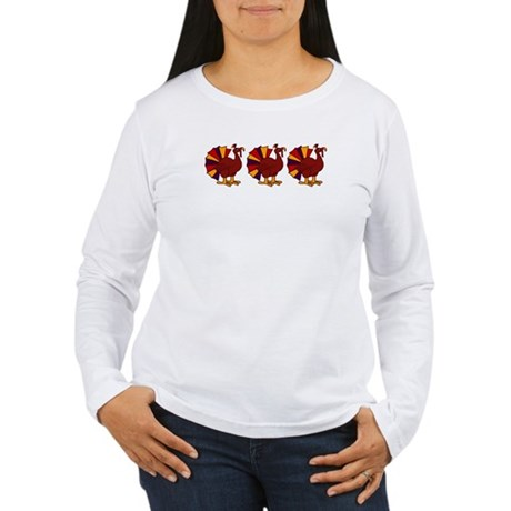 Thanksgiving Turkey Trio Women's Long Sleeve T-Shi