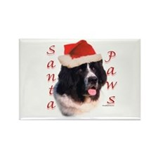 Santa Paws landseer Newf Rectangle Magnet