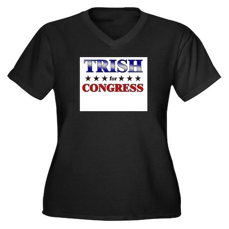 TRISH for congress Women's Plus Size V-Neck Dark T