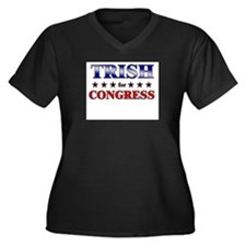 TRISH for congress Women's Plus Size V-Neck Dark T