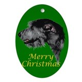 Irish Wolfhound Ornament - Green (Oval)