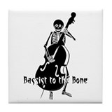 Skeleton Bassist (Black) Tile Coaster