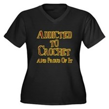 Unique Crocheting Women's Plus Size V-Neck Dark T-Shirt