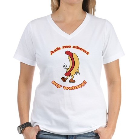 Ask Me Weiner Womens V-Neck T-Shirt