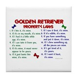 Golden Retriever Property Laws 2 Tile Coaster