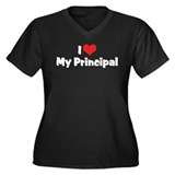 I Love My Principal Women's Plus Size V-Neck Dark