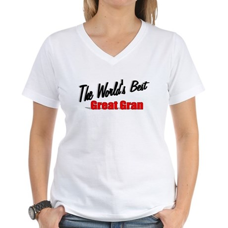 """The World's Best Great Gran"" Women's V-Neck T-Shi"