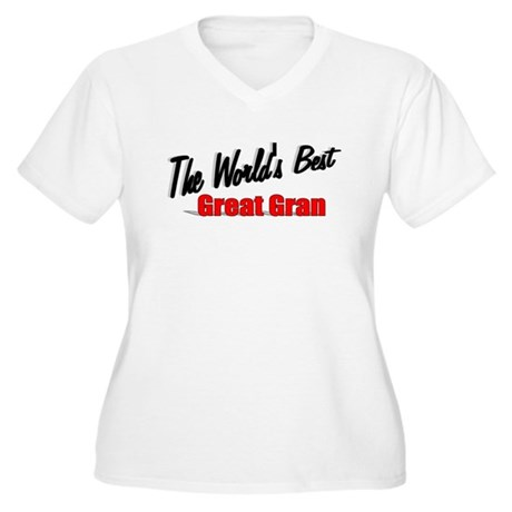 """The World's Best Great Gran"" Women's Plus Size V-"