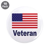 "American Flag Veteran 3.5"" Button (10 pack)"