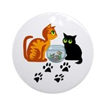 Fish Bowl Kittys Ornament (Round)