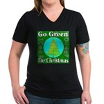 Go Green For Christmas Women's V-Neck Dark T-Shirt
