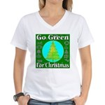 Go Green For Christmas Women's V-Neck T-Shirt