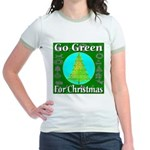 Go Green For Christmas Jr. Ringer T-Shirt