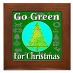 Go Green For Christmas Framed Tile