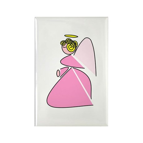 Pretty in Pink Angel Rectangle Magnet (10 pack)