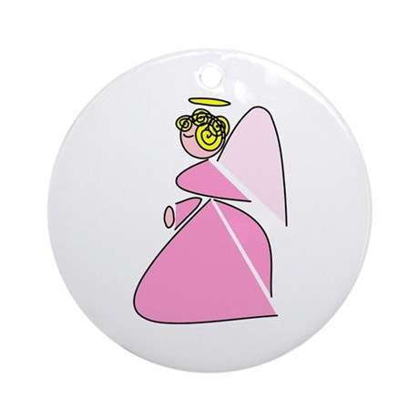 Pretty in Pink Angel Ornament (Round)