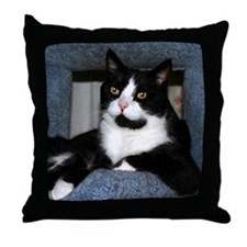 BLACK & WHITE TUXEDO CAT PILLOW