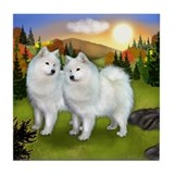 SAMOYED DOGS FALL Tile Coaster
