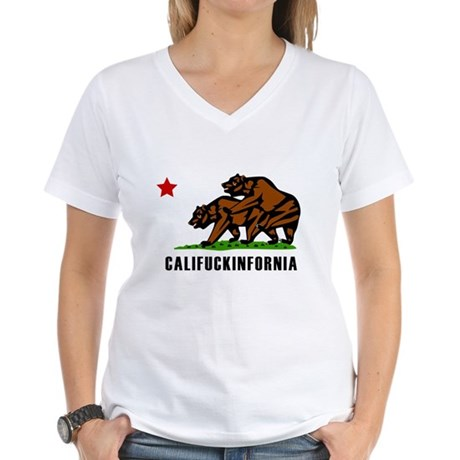 Califuckinfornia Womens V-Neck T-Shirt