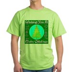 Wishing You A Merry Christmas Green T-Shirt
