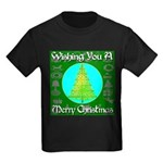 Wishing You A Merry Christmas Kids Dark T-Shirt