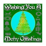 Wishing You A Merry Christmas Tile Coaster